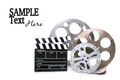 Canisters of Film With Directors Clapboard on Whit Stock Images