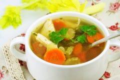 Canja de galinha caseiro com vegetais e arroz em uma bacia Fotografia de Stock