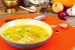 Canja de galinha com brócolis, cenouras e aipo, abóbora e macarronetes Fotos de Stock
