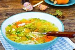 Canja de galinha com brócolis, cenouras e aipo, abóbora e Nood Imagem de Stock