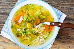 Canja de galinha com brócolis, cenouras e aipo, abóbora e Nood Fotos de Stock
