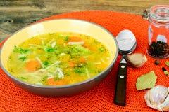 Canja de galinha com brócolis, cenouras e aipo, abóbora e Nood Foto de Stock