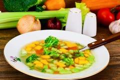 Canja de galinha com brócolis, cenouras e aipo, abóbora e Nood Imagens de Stock