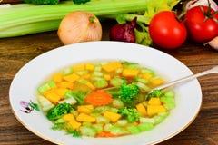 Canja de galinha com brócolis, cenouras e aipo, abóbora e Nood Fotografia de Stock