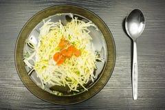Canja de galinha com macarronetes, cenouras e salsa Vista de acima Fotos de Stock