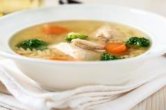 Canja de galinha com vegetais e orzo Fotografia de Stock Royalty Free