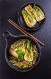 Canja de galinha verde tailandesa do caril com pak choi imagem de stock royalty free