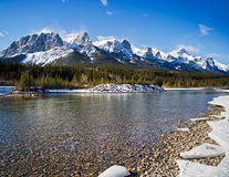 Canmoe. Beautiful winther day canmore. Alberta Royalty Free Stock Images