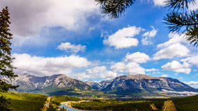 Canmore with Grotto Mountain and Mount Lady MacDonald in the Background Royalty Free Stock Photography