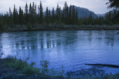 Canmore Landscape. Bow River in Canmore with the Rocky Mountains in the background Stock Image