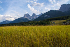 Canmore Three Sisters Mountains. Three Sisters Mountains in Canmore, Alberta, Canada. The three mountains are known as Big Sister, Middle Sister and Little Royalty Free Stock Photos