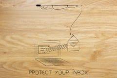 Canna da pesca che afferra un email privato da un computer portatile sulla molla Fotografia Stock