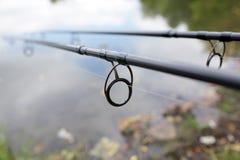 Canna da pesca della carpa Fotografie Stock