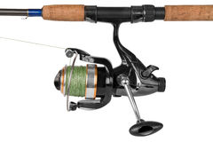 Canna da pesca isolata su bianco Fotografia Stock Libera da Diritti