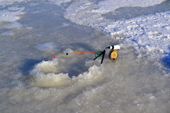 Canna da pesca per pesca di inverno Fotografia Stock Libera da Diritti