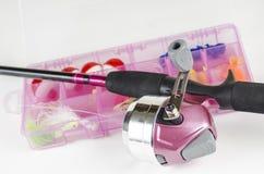 Canna da pesca rosa immagine stock libera da diritti