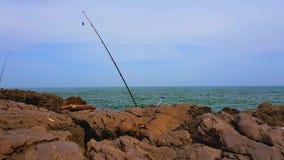 Canna da pesca in una riva rocciosa video d archivio