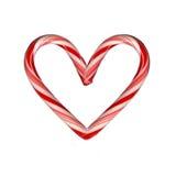 Canna di caramella del cuore Fotografia Stock Libera da Diritti