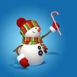 Canna di caramella della holding del pupazzo di neve di nuovo anno Fotografia Stock Libera da Diritti