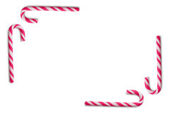 Canna di caramella su priorità bassa bianca Fotografia Stock Libera da Diritti