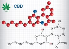 Cannabidiol CBD -结构化学式和分子 免版税库存图片
