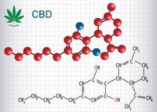 Cannabidiol CBD - fórmula química estructural y molécula ilustración del vector