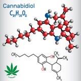 Cannabidiol CBD - formule chimique structurelle et molécule illustration stock
