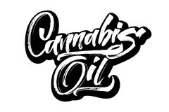 Cannabisöl Moderne Kalligraphie-Handbeschriftung für Siebdruck-Druck Stockbilder