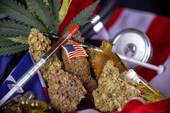 Cannabis buds, leaves and american flag assortment - veteran med Stock Photography
