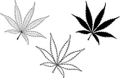 Cannabis, cannabis leaf set, royalty free stock photography