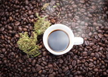 Cannabis coffee cup. A cup of hot espresso as beside cannabis buds also see many roasted coffee beans on a floor Stock Image