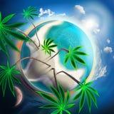 Cannabis conceptual idyllic planet stock illustration