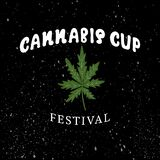 CANNABIS CUP festival-typography poster. White lettering with leaf cannabis