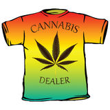 Cannabis dealer tshirt. Against white background, abstract vector art illustration Royalty Free Stock Photos