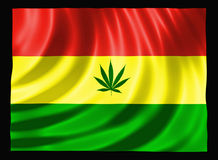 Cannabis Flag. Jamaican colored flag with Cannabis leaf and black background Royalty Free Stock Images