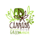 Cannabis green ganja label original design, logo graphic template. Colorful hand drawn vector Illustration Royalty Free Stock Photography