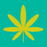 Cannabis green leaf hippie sign isolated on white Stock Image