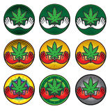 Cannabis green textured leaf icon  illustration Stock Photography