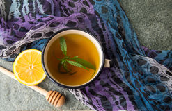 Free Cannabis Herbal Tea On Stone Table Stock Images - 85648064