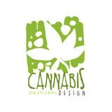 Cannabis label original design, logo graphic template hand drawn vector Illustration. In green colors Stock Image