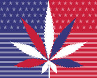 Cannabis leaf american flag Stock Images