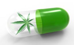 Cannabis leaf in capsule, alternative medical concept royalty free illustration