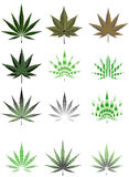 Cannabis leaf in different styles Royalty Free Stock Images