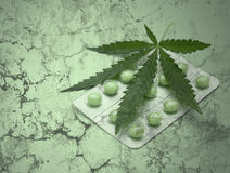 Cannabis leaf and drugs over grunge texture Royalty Free Stock Photos