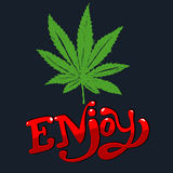 Cannabis leaf. Enjoy vector illustration. Cannabis leaf in hand draw style Stock Images
