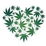 Cannabis leaf heart Royalty Free Stock Photography