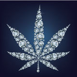 Cannabis leaf  made a lot of from diamonds. Royalty Free Stock Image