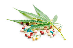 Cannabis leaf and medicaments Stock Photo