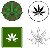Cannabis leaf mixed set. Mixed set with symbol, sign, color and black and white illustrations of a cannabis leaf Royalty Free Stock Photo