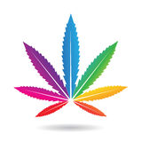 Cannabis Leaf in Rainbow Colors Royalty Free Stock Images